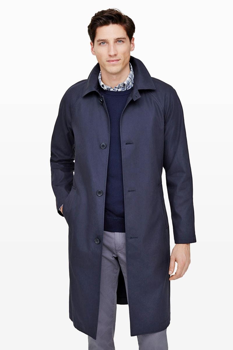 Модный мужской тренч темно-синего цвета с рукавами реглан