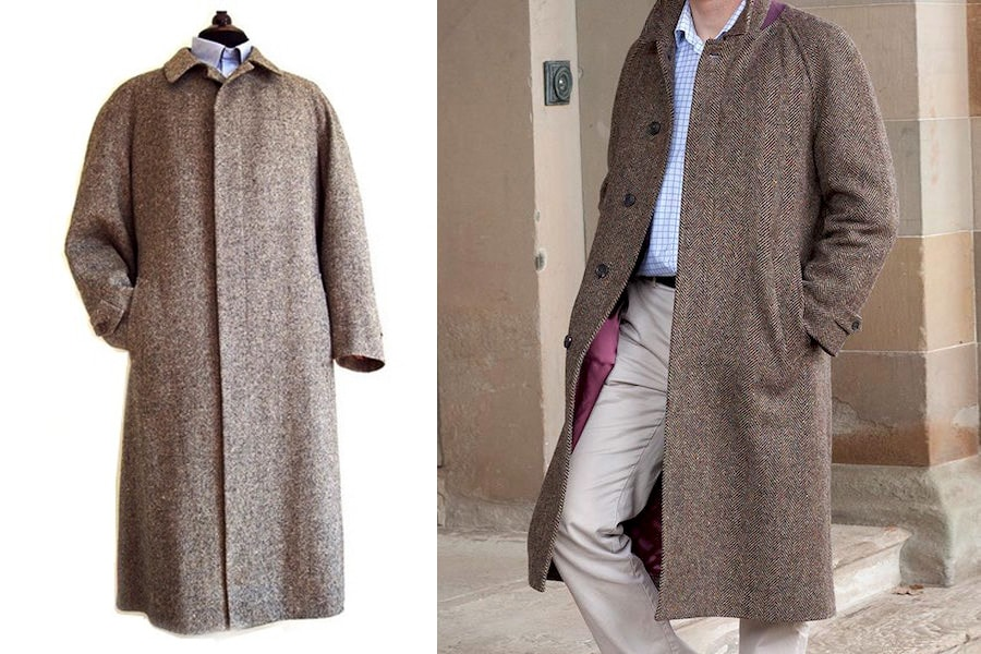 Однобортное мужское пальто фасона балмакаан