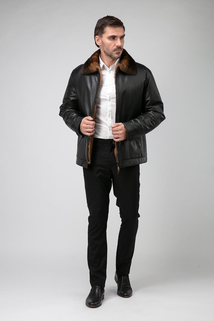 a01d65906 Мужская короткая кожаная куртка на меху