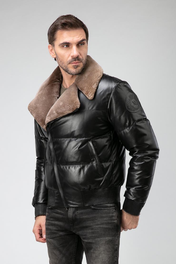7fd40aa653c Короткая мужская куртка из кожи с мехом