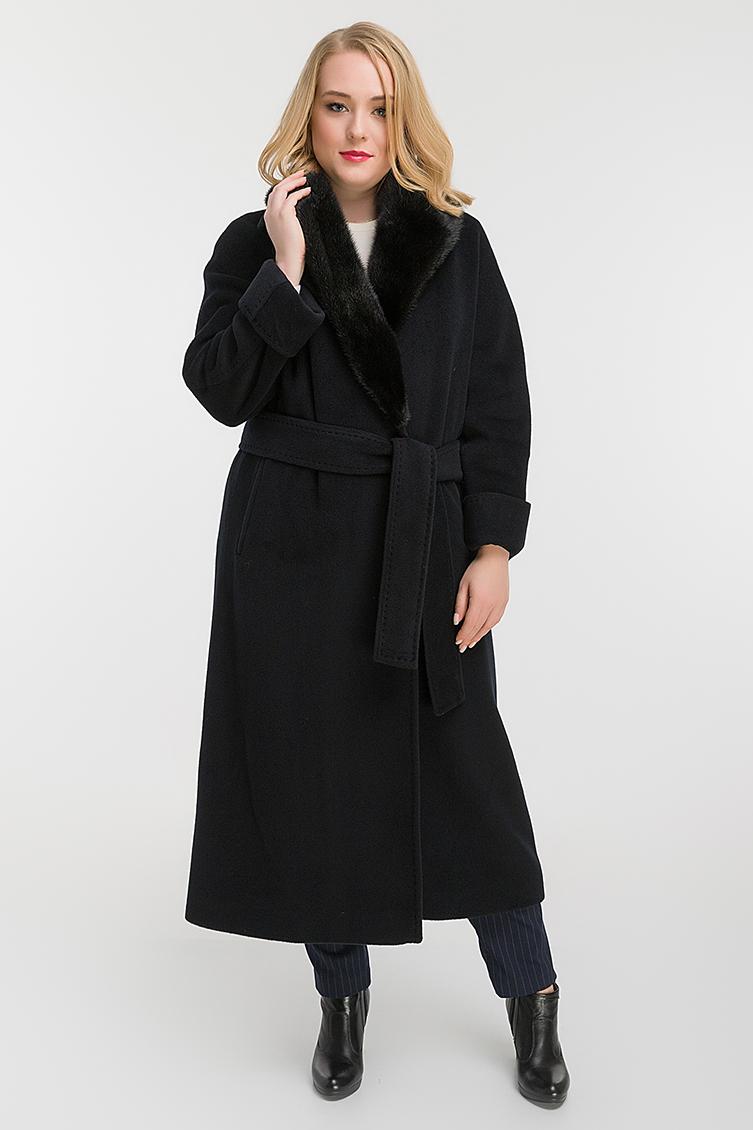 75cc92df7ba Стильное пальто на запахе с норкой для высоких девушек