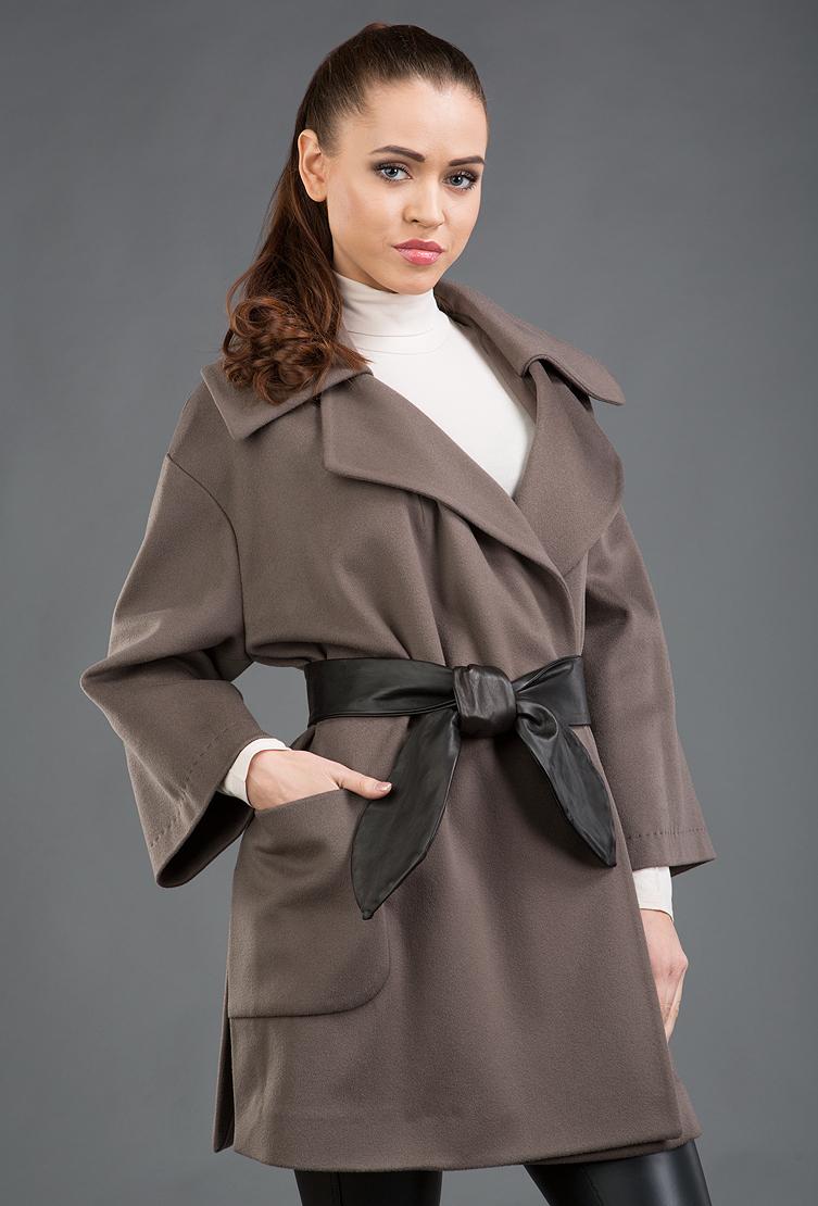 efe424ed80e Короткое молодежное пальто-кимоно с кожаным поясом 42751 T05 - табачный