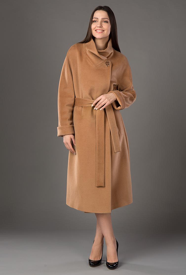 c859779cbcb Демисезонное женское кашемировое пальто с поясом 6400 BB5 - кэмел