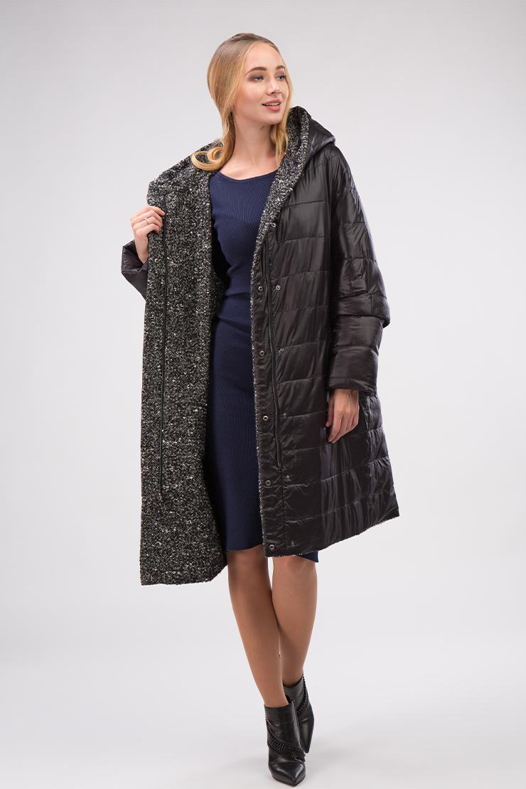 d6995df8538 Стильное демисезонное женское пальто из драпа 7759 А08 - черный