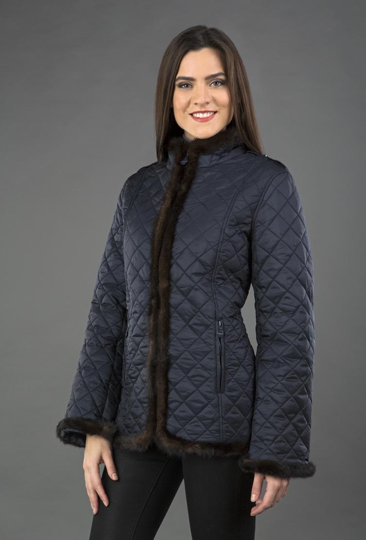 Осенняя стеганая женская куртка с меховой отделкой A280 RL23 - синий 051bad43a2e41