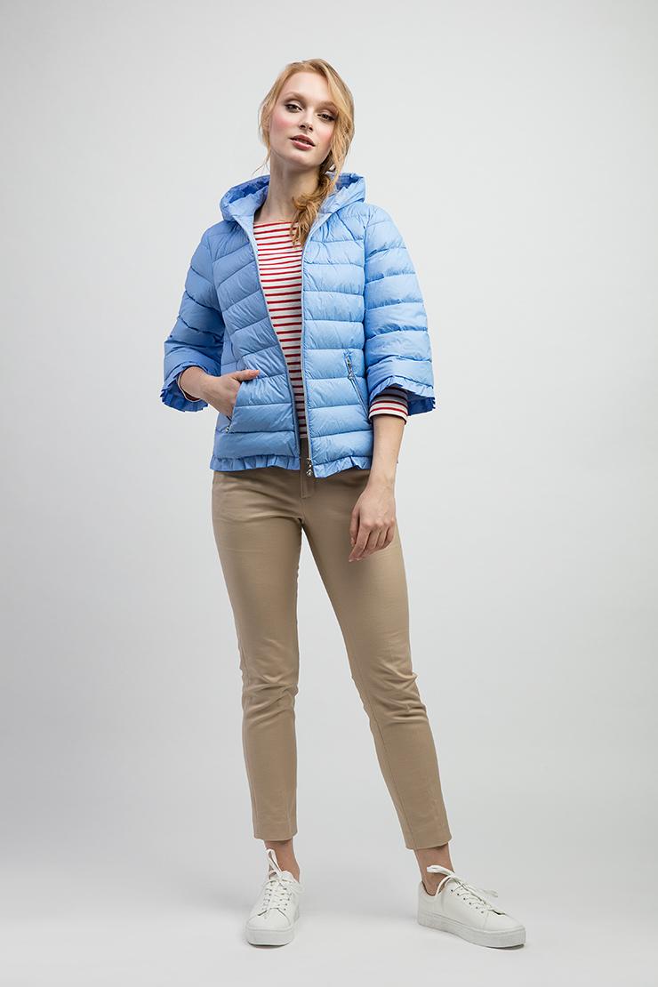 605ee61d229 Пуховая женская стеганая куртка с рукавом 3 4 и капюшоном AMANDA 01 ...