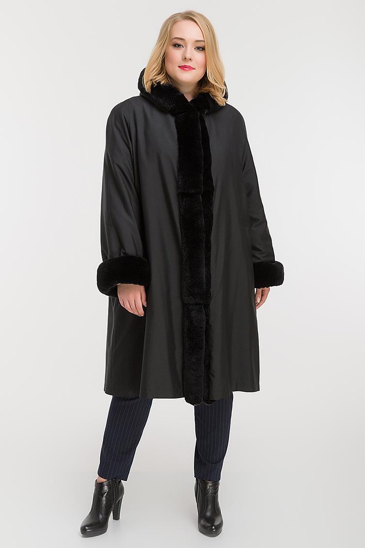 6dd2e92ecffb Женское пальто-трапеция на меху для зимы F347-B RL10 - черный