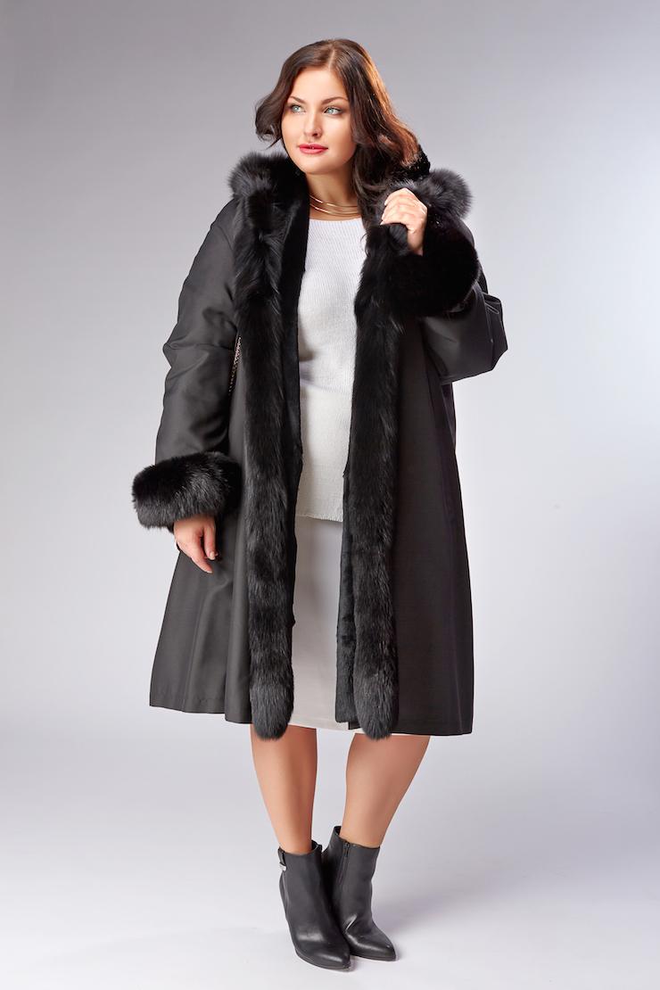 Зимнее женское пальто на меху кролика Rolf Schulte F887B1 RL02  - черный 1228a2a04d8