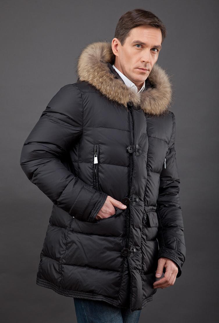 4ee0181644767 Зимний мужской пуховик из Италии с мехом енота FEFE/L12 - черный