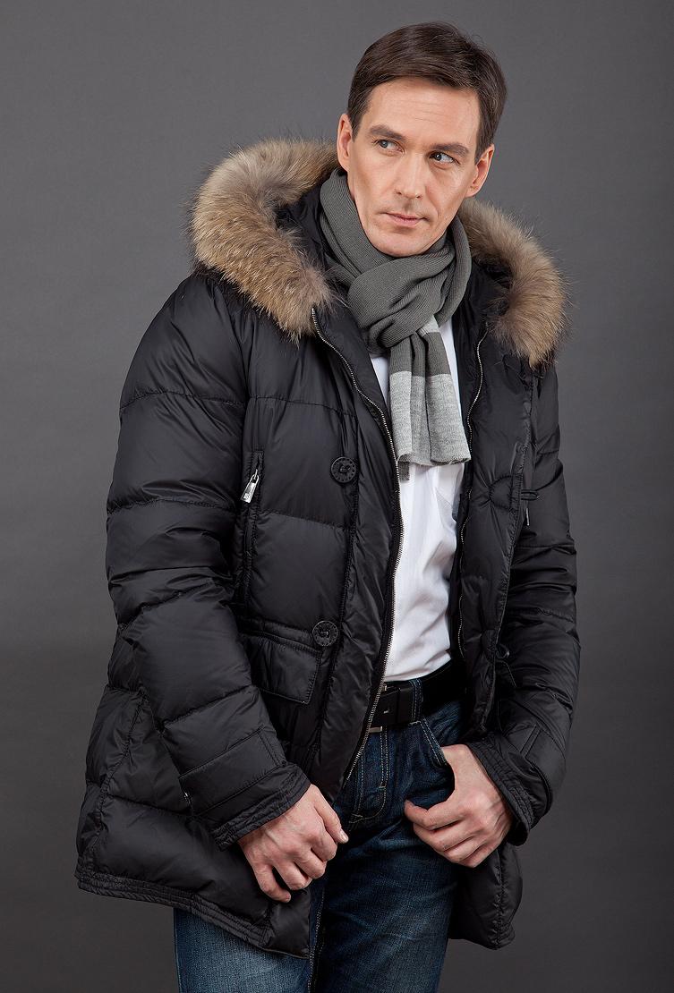 cc95c9d3b578f Зимний мужской пуховик из Италии с мехом енота FEFE/L12 - черный