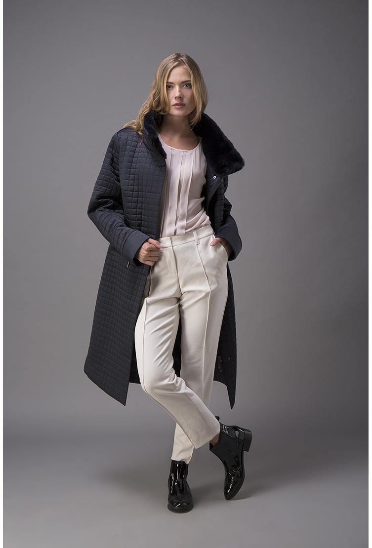 100a9bcd0f4 Женское стеганое пальто на осень с меховым воротником G443 3220 - синий