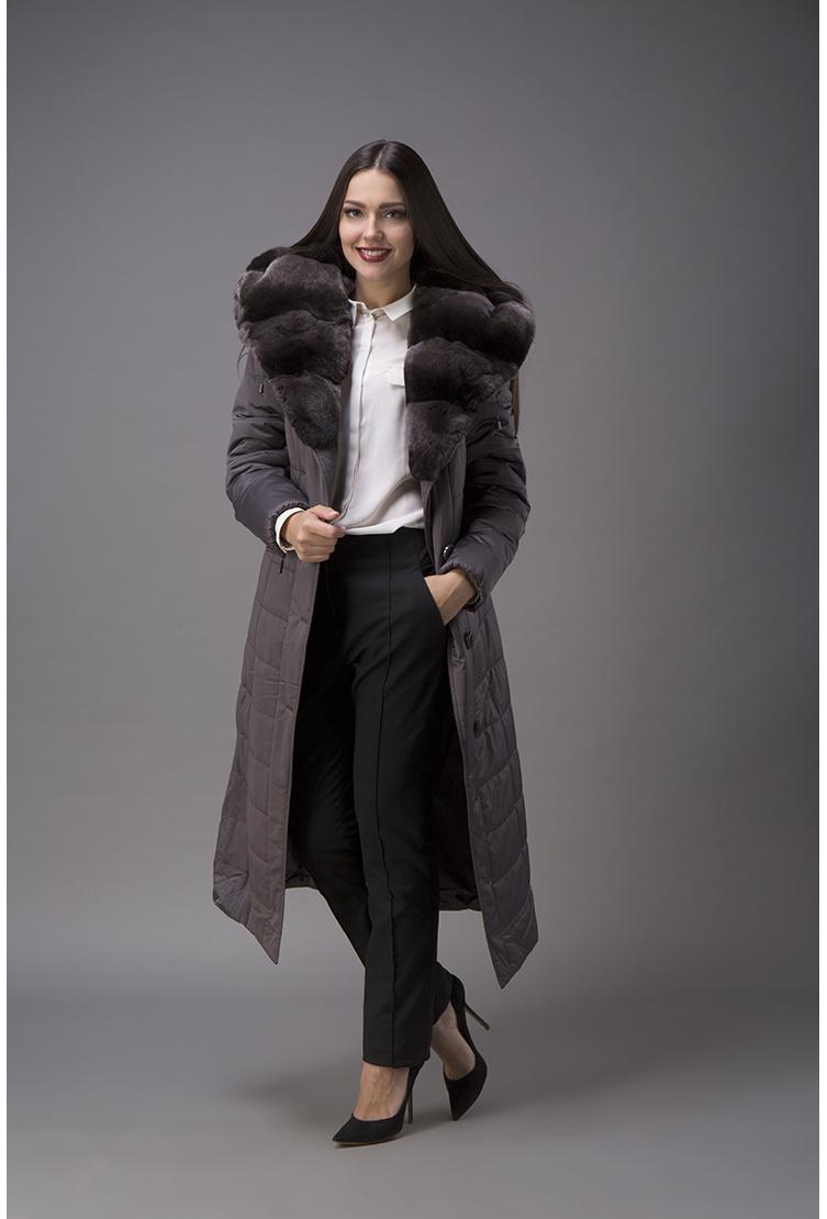 1a4f1b5fd64 Женское пальто с меховым воротником из кролика G450 2625 - серый