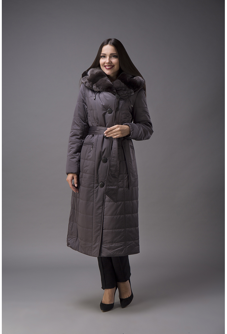 4033ca53514 Женское пальто с меховым воротником из кролика G450 2625 - серый