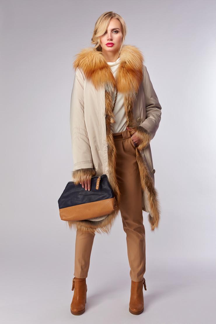 7be49ce52a4 Женское зимнее пальто на меху Garioldi с капюшоном G454 3208A  - бежевый
