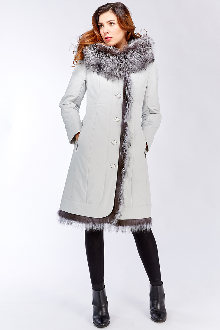 43450f280dd Белое пальто Garioldi с мехом чернобурки G464 2101 - белый
