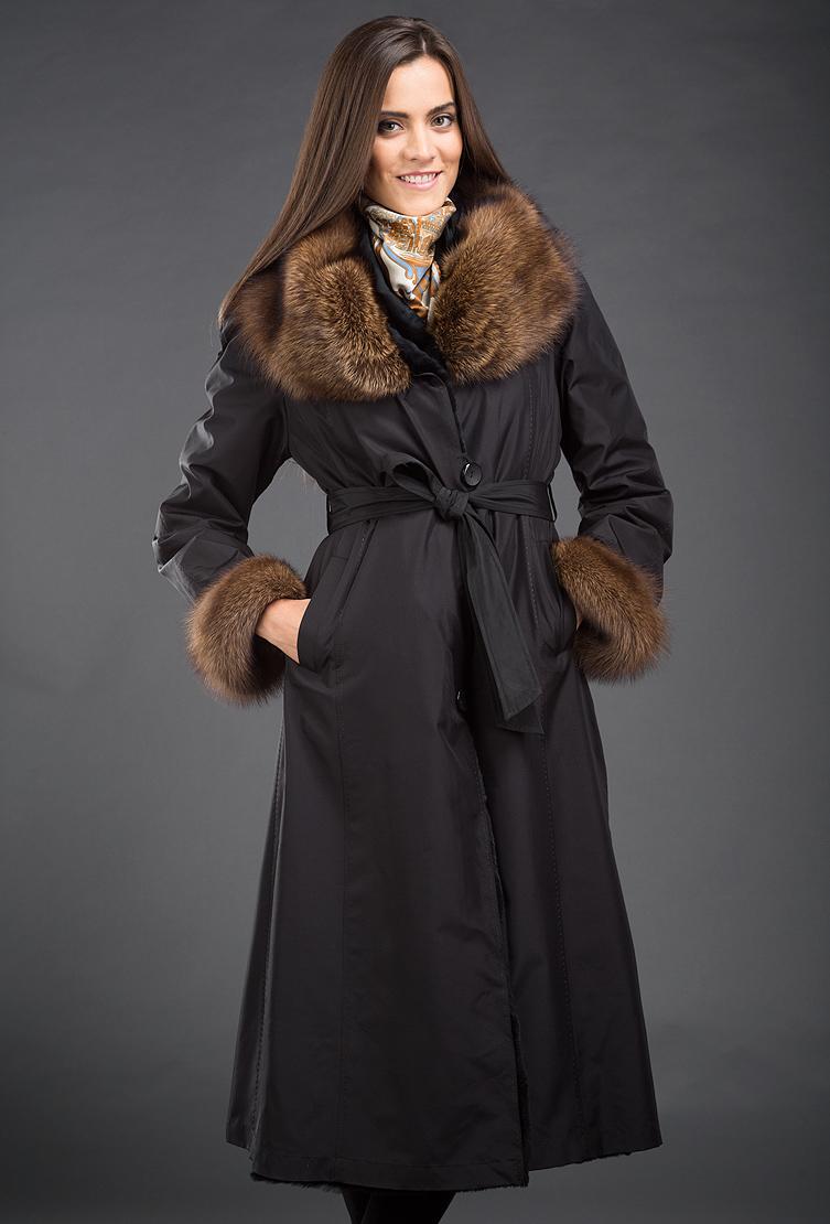 Зимнее женское пальто на кроличьей подстежке Garioldi с мехом куницы ... 34603d54f05
