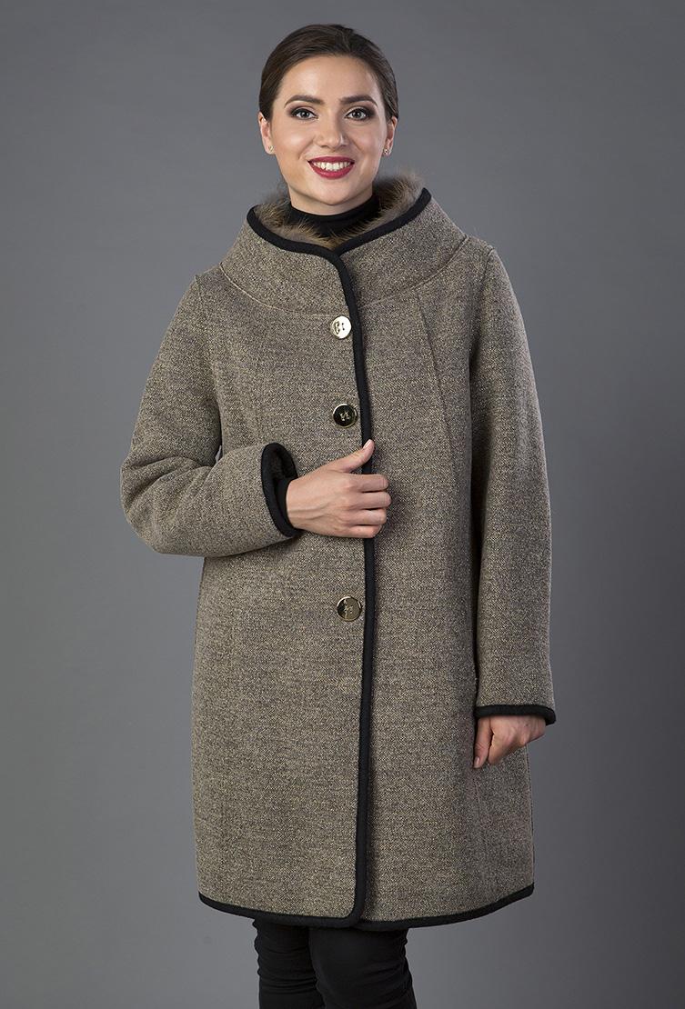 fc8a681f9026 Драповое пальто средней длины на большой размер K378/2301 - орех