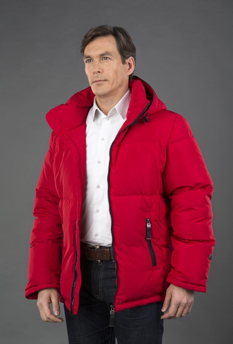 ac87e6d2bc57 Красный мужской пуховик Joutsen с отстегивающимся капюшоном ...