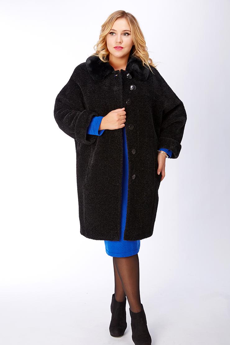 Женское утепленное пальто из альпака на большой размер с рукавом реглан 03bbe765cff65