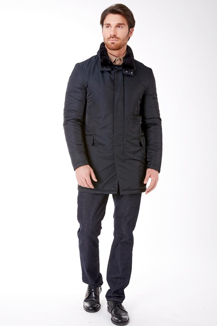4e065b1f2ff Темно-синяя длинная мужская куртка с мехом