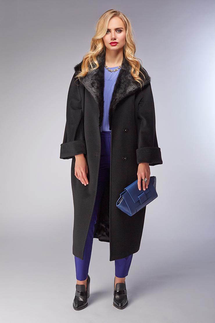37358e73fec Женское пальто оверсайз с меховым воротником из норки M97VI H05 - черный