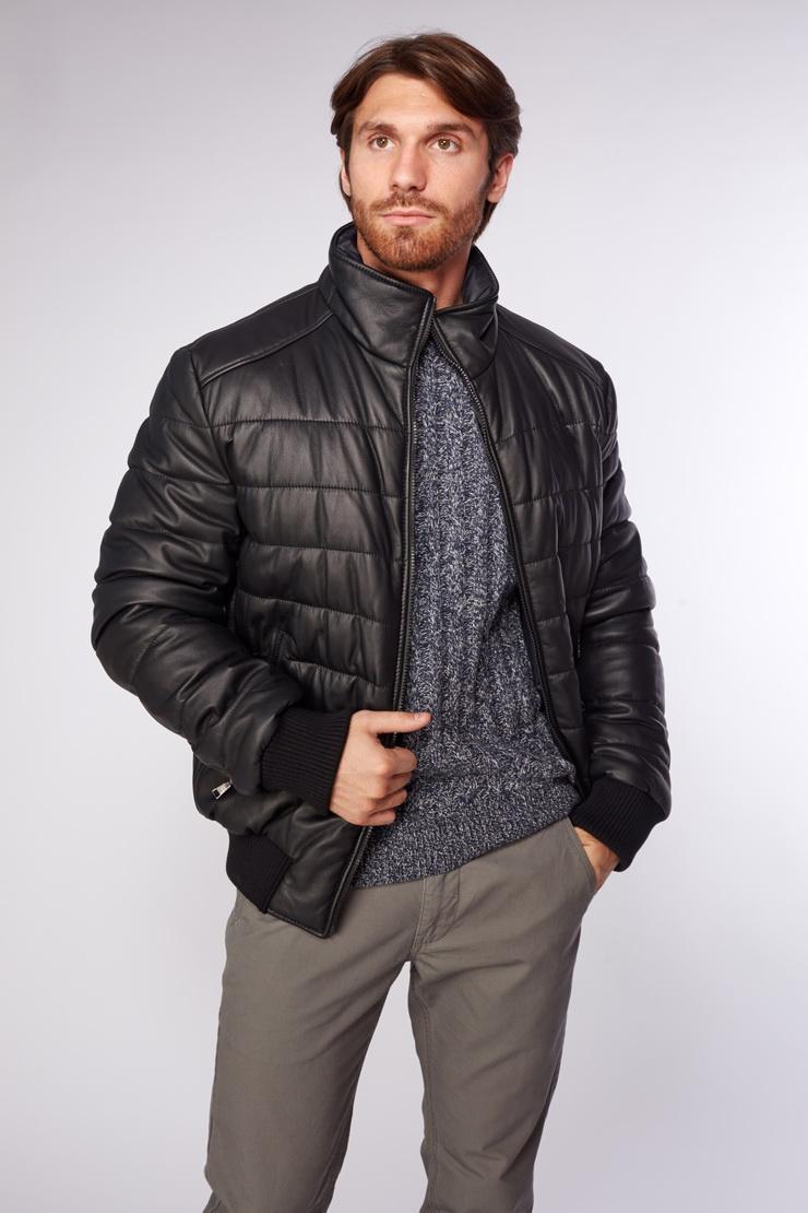 1a45f6b31fd Мужская кожаная куртка черная AFG на синтепоне P3534 L40 - черный
