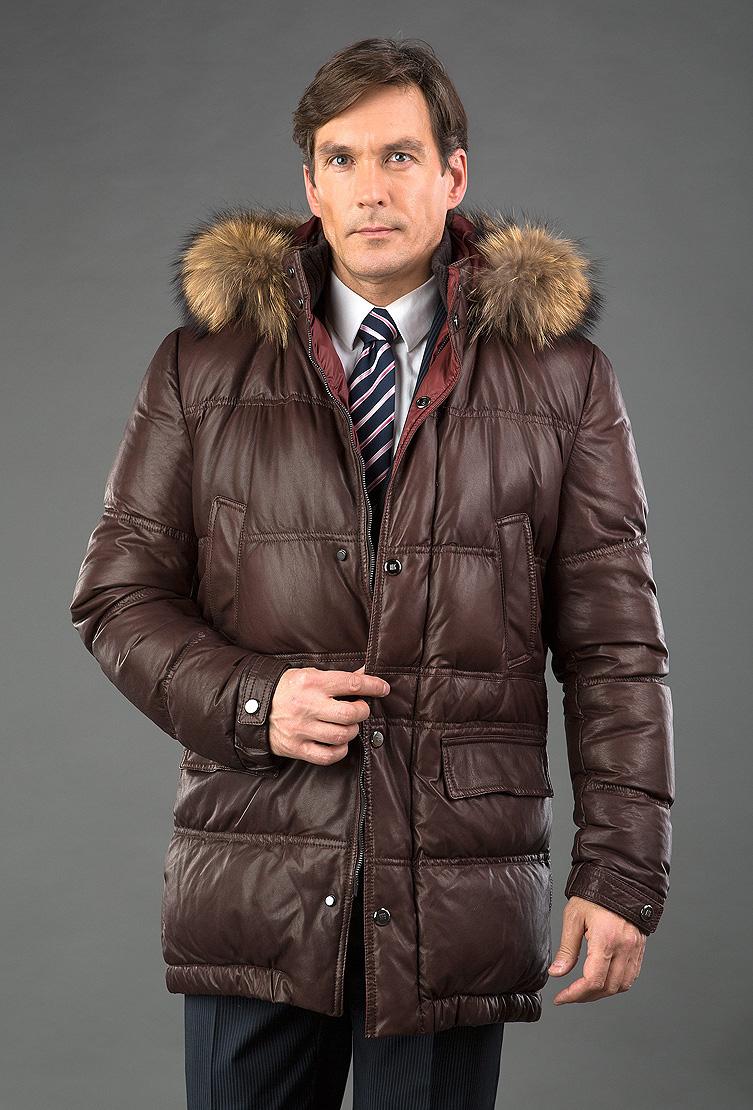 092a14daaf772 Кожаный мужской пуховик Fontanelli (AFG) коричневого цвета P3590B ...