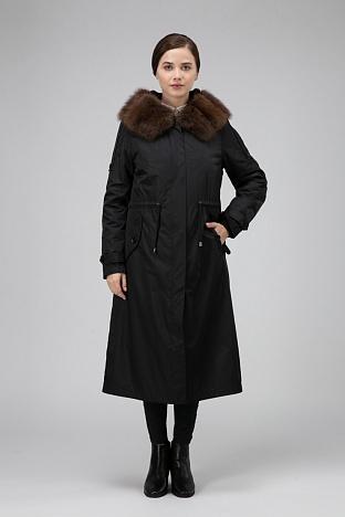 Длинное женское пальто для зимы на натуральном меху кролика 99821050721e5
