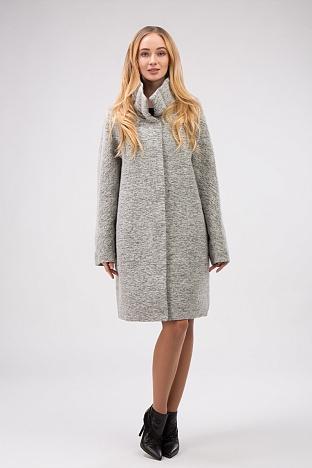 2e0e8ca7a22 Стильное демисезонное женское пальто из драпа. В корзину. Двухстороннее демисезонное  пальто с воротником-стойкой утепленное