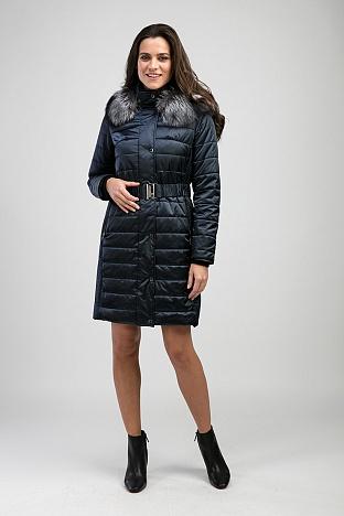 1ccd51f1b94 Демисезонное прямое женское пальто с мехом чернобурки
