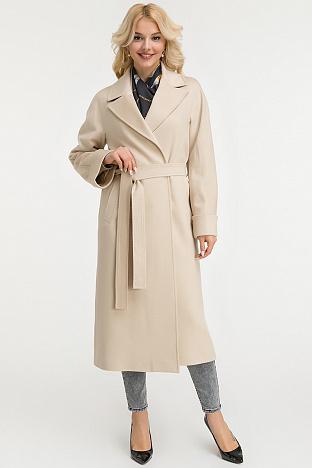 3a333803f34 Классическое бежевое пальто с запахом Heresis