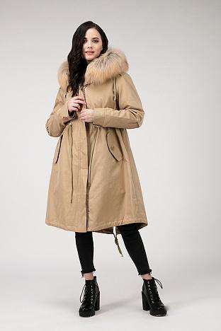 08c82274ab84 Длинное расклешенное пальто с кулиской на верблюжьей подстежке